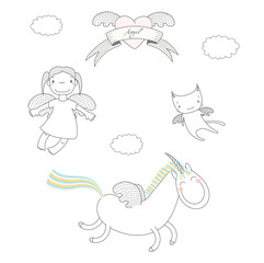 Hand drawn vector illustration of a cute little angel girl, unicorn with wings and angel cat, flying, heart and text Angel on a ribbon