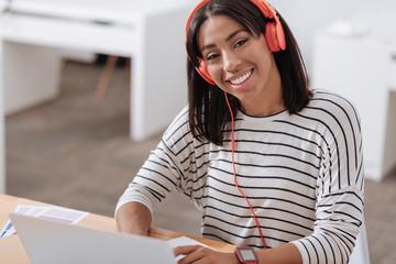 Positive joyful student smiling