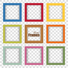 Set of multicolor realistic frames with shadow