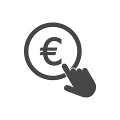 Hand Click icon. Currency exchange sign. Euro coin