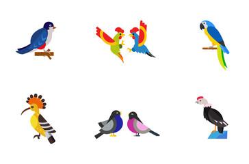 Spoed Foto op Canvas Vogels, bijen Birds icon set