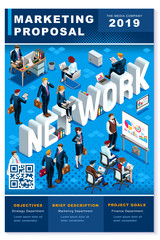 Financial network newsletter annual report or proposal vector clean blue template plain modern design for freelance or consultant professionals