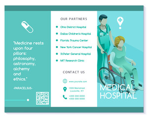 Vector medical clinic trifold brochure simply modern design with clean blue and white background. Flat isometric people elements like hospital professional staff nurse or doctor talking with patient