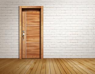Brick room with modern door