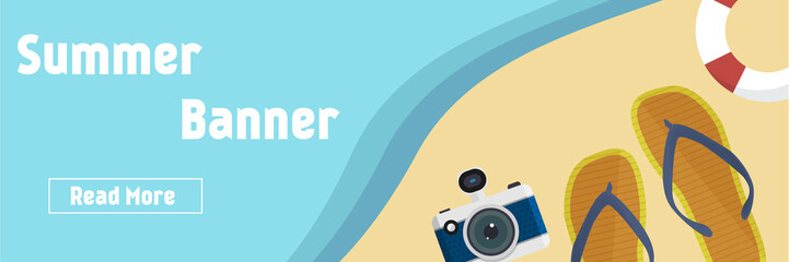 Summer beach background with isolated elements vector
