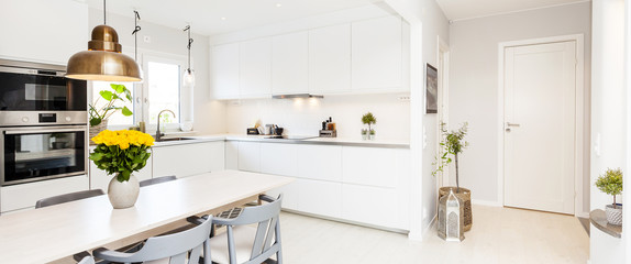 banner with open view of white kitchen itnerior and the hallway