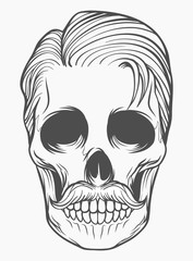Mexican skull design with trendy hairstyle vector