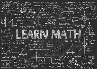 Learn Math Chalkboard with math isolated  elements vector
