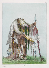 Native American costume: Blackfoot Medicine Man by Catlin.. Date: 1830