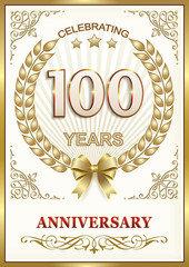 100 years anniversary with a laurel wreath. Gold design
