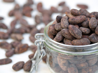 Cocoa beans in a jar, selective focus
