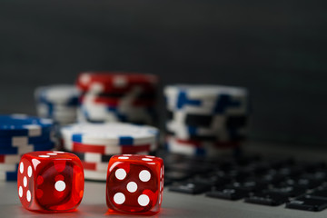 Gambling for money on the Internet in cards and dice, background
