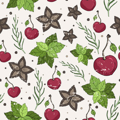 Seamless vector pattern. Cinnamon, mint, rosemary and cherry