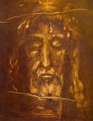 TURIN, ITALY - MARCH 13, 2017: The painting of Jesus Christ face from Shroud of Turin by unknown artist of 20 cent.
