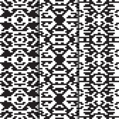 Set of 3 seamless patterns. American Indian style. Vector retro design for fashion prints. Monochrome backgrounds.