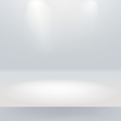 White empty stage with two light sourses