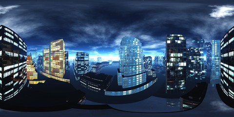 Night city, Cityscape, Environment map. HDRI map. Equirectangular projection. Spherical panorama., 3D rendering