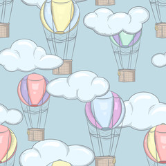 Seamless pattern with balloons and clouds