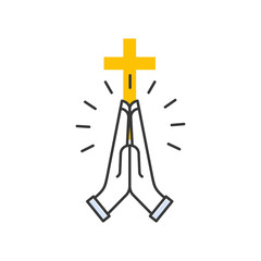 Hands holding cross. Religious isolated icon on white background in flat style. Modern vector line design.
