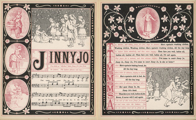 Music Sheet for Song and Game Jinny Jo. Date: 1886