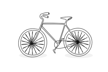 Continuous line drawing of a bicycle doodle style