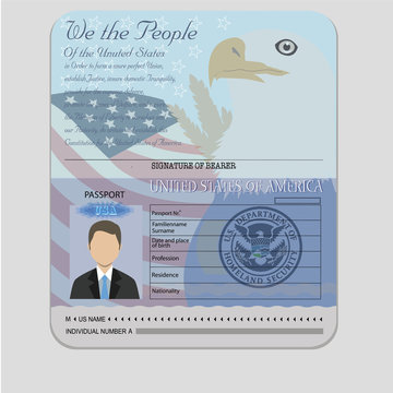 American Passport teamplate with isolated objects vector
