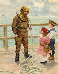 Diver and Children. Date: 1900