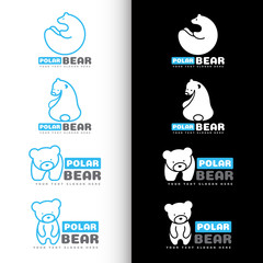 White and blue Polar bear logo vector set design