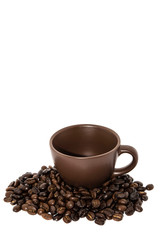 Wall Murals Cafe Brown Coffee Beans And Coffee Cup