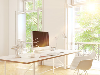 modern office with creative space. 3d rendering