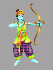 god of krishna shoots from a bow
