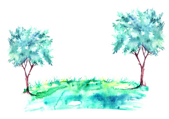 Watercolor summer landscape. Blue, artistic tree on a bright grass. On a white background. A summer tree on the shore of a lake, a pond, a stream.