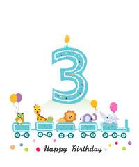 Happy third birthday greeting card. Birthday train with animals