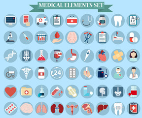 Collection of isolated Medical elements set vector