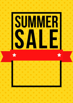 Summer sale yellow flyer or poster template
