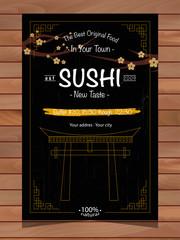 Sushi Restaurant Brochure on wood background texture