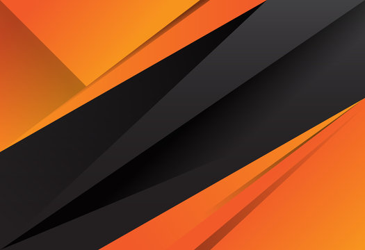 Black and orange abstract layer geometric background