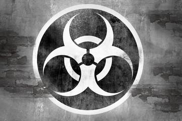 biohazard symbol on wall
