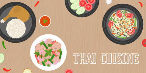 Thai cuisine, papaya salad, grilled chicken, beef sour salad, side dish and fresh ingredients on wooden background, flat design vector for banner, website cover or backdrop