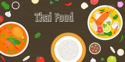 Thai food and fresh ingredients on wooden background, flat design vector for banner, website cover or backdrop