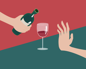 Rejecting the offered alcohol. No alcohol concept