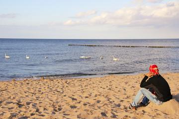 Schwäne, Ostsee, Strand, angucken, Salzwasserschwäne