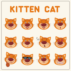 Emoticons set cartoon kitten cat face. Collection isolated funny kitten cat different emotion.