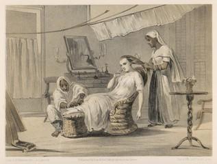 Obraz British raj in India  woman attended by servants. Date: 1860 - fototapety do salonu