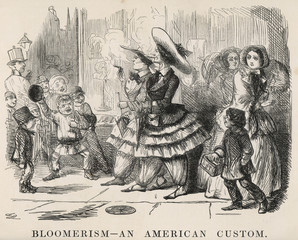 Bloomerism - an American  custom with bloomers. Date: 1850