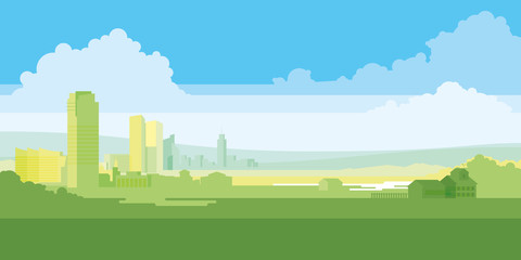 Urban landscape with large modern buildings and suburb with private houses on a background mountains and hills. Concept city and suburban life