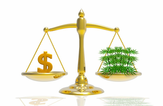 3d illustration. Balance scale of Money and  marijuana. cannabis is equal to money concept.