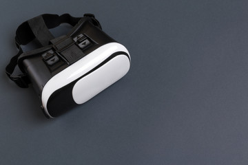 VR Glasses, Virtual Reality Headset, Top View, Isolated on Gray