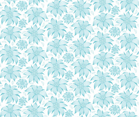 Seamless floral pattern. On a white background the blue flowers of edelweiss, water lily, lotus. For greeting cards, invitations, textiles, clothes, wrapping paper, wallpaper, interior design of room.