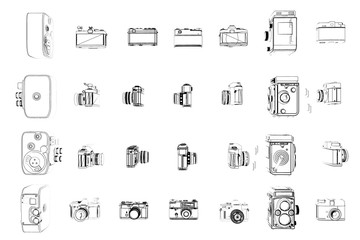 illustration of vintage cameras